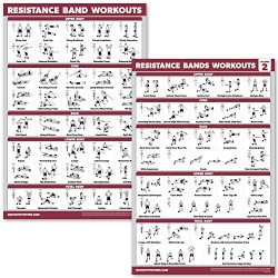 QuickFit 2 Pack Resistance Bands Exercise Poster Set – Resistance Tubes Workout Charts (La ...