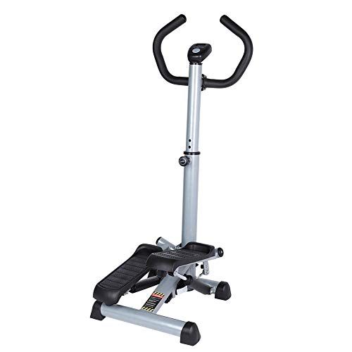Folding Twist Stepper Step Machine Stair Climbing Workout Machine with Handle Bar and LCD Monito ...