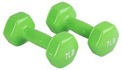 AmazonBasics Vinyl 7 Pound Dumbbells – Set of 2, Light Green