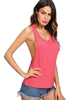 SweatyRocks Women's Sleeveless Flowy Loose Fit Racerback Yoga Workout Tank Top Red XL