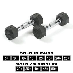 SPRI Dumbbells Deluxe Rubber Coated Hand Weights All-Purpose Color Coded Dumbbell for Strength T ...