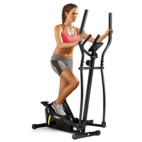 GYMAX Elliptical Machine, Magnetic Elliptical Machine with Digital Display, Heart Rate Grip & ...