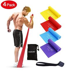 Oudort Resistance Bands Set,Latex Free Long Exercise Bands with Door Anchor 4 Resistance Levels  ...