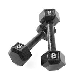 CAP Barbell Cast Iron Hex Dumbbell Weights (Pair), Black, 8 lb