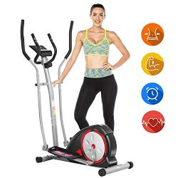 ANCHEER Elliptical Machine, Elliptical Exercise Machine with LCD Monitor and Pulse Rate Grips, M ...