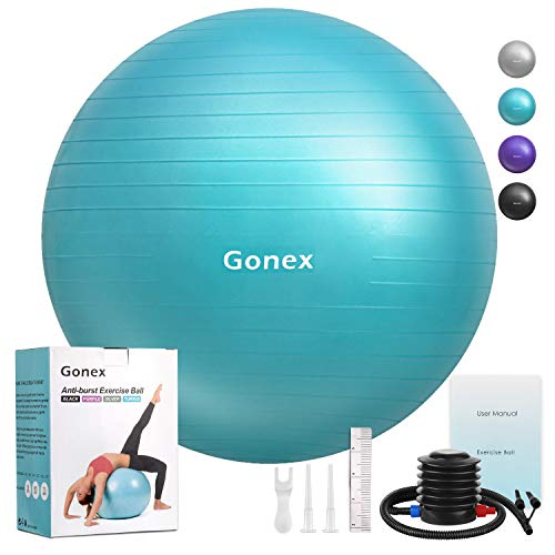 Gonex Exercise Workout Ball, 55cm 65cm 75cm Anti-Burst & Non-Slip Stability Balance Ball for ...