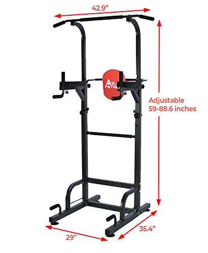 AbleFitness Dip Station Chin Up Bar Power Tower Pull Push Home Gym Fitness Core (Deluxe Version: ...