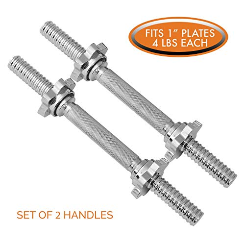 Threaded Dumbbell Handles by Day 1 Fitness, Set of 2, with Star Collars, Fits 1″ Standard  ...