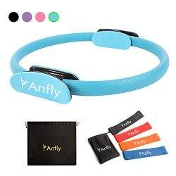Anfly Pilates Ring – Enough Resistance Pilates Circle with 4 Colors Stretch Straps, Strong ...