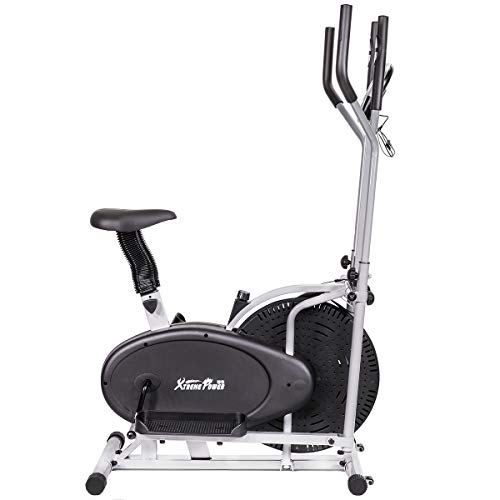 XtremepowerUS 2 in 1 Elliptical Fan Bike Dual Cross Trainer Machine Exercise Workout Home Gym LC ...