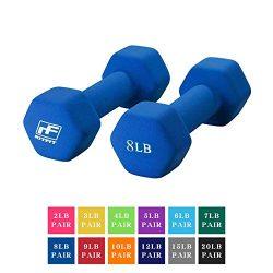 RitFit Set of Two Neoprene Dumbbells Coated for Non-Slip Grip, 1 lb-20 lb (8 Pound(Blue))