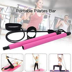 Portable Pilates Bar Kit with Resistance Band, Portable Home Gym Workout Package,Yoga Pilates St ...