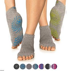 Gaiam Grippy Toeless Yoga Socks for Extra Grip in Standard or Hot Yoga, Barre, Pilates, Ballet o ...