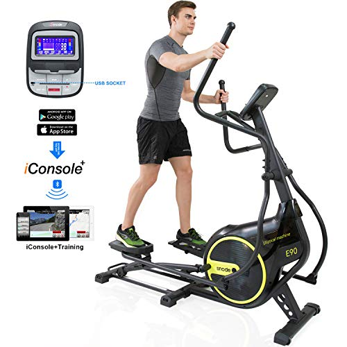 SNODE Elliptical Machine, Exercise Fitness Trainer with Digital Monitor and Pulse Rate Grips, 16 ...