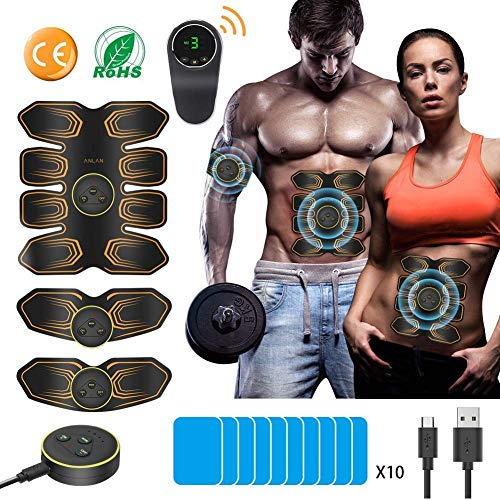 ANLAN AB Stimulator 8 Pack ABS Stimulator Rechargeable for Men Women ABS Toner AB Belt Trainer A ...