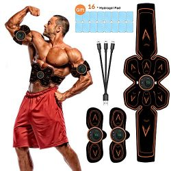 vcloo Abdominal Muscle Stimulator Belt, Rechargeable Ab Toner Belt Abs Stimulator Belt USB Charg ...