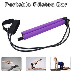 Yoruii Portable Pilates Bar Kit with Resistance Band,Yoga Exercise Pilates Bar with Foot Loop Yo ...