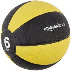 AmazonBasics Workout Fitness Exercise Weighted Medicine Ball – 6 Pounds, Yellow and Black