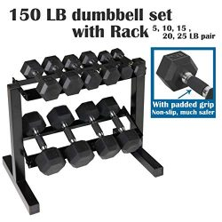 CAP Barbell PVC-Coated Hex Dumbbell Pairs Set, Dumbbell Set with Rack Stand, or Set of 2 Weights ...