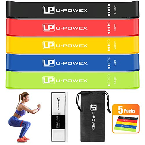 U-POWEX Resistance Loop Bands – Set of 5 – Premium Latex Mini Exercise Bands for Str ...