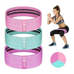 Te-Rich Resistance Bands for Legs and Butt, Fabric Workout Bands, Women/Men Stretch Exercise Loo ...