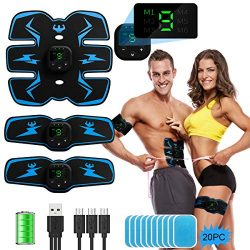 ABS Stimulator Abdominal Muscle Toner, EMS Abdomen Muscle Trainer Toning Workout Rechargeable fo ...