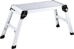 LUISLADDERS Work Platform Aluminum Step Ladder Drywall Heavy Duty Portable Work Bench Extra-Larg ...