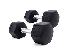 ZIVA ProFT Black Rubber Hex Dumbbell for Weight Lifting, Core Training – Ergonomic, Comfor ...