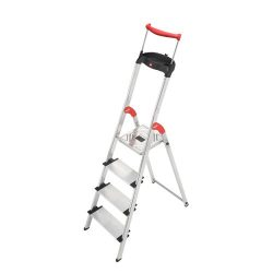 Hailo 9204010020 8854-001 4FT Folding Lightweight Aluminum Platform Step Ladder, Worktray, Silver