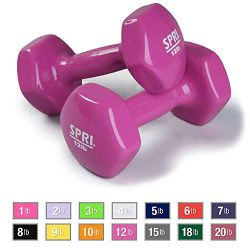 SPRI Dumbbells Deluxe Vinyl Coated Hand Weights All-Purpose Color Coded Dumbbell for Strength Tr ...