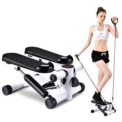 SuxiDi Mini Adjustable Stepper Air Climber Step Fitness Exercise Machine with Resistance Band an ...