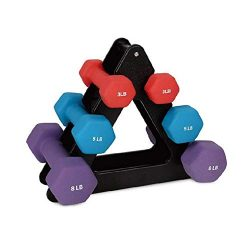 3 Tier Triangle Steel Dumbbell Rack, Compact Dumbbell Bracket Free Weight Stand for Home Gym (Black)