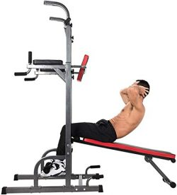 ZELUS Multifunctional Power Tower Workout Pull Up Dip Station Adjustable Height Pull Up Bar Stat ...