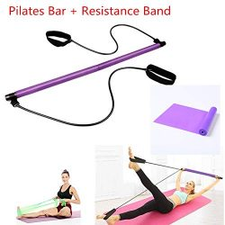 Myfreed Pilates Bar,Pilates Bar Kit with Resistance Band Portable Yoga Exercise Bar with Foot Lo ...