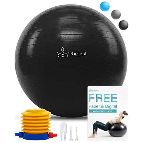 PHYLLEXI Exercise Yoga Ball – Pro Grade Anti-Burst Fitness Swiss Ball (55-85cm) for Gym, P ...