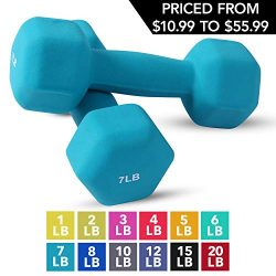 Neoprene Dumbbell Pairs by Day 1 Fitness – 7 Pounds – Non-Slip, Hexagon Shape, Color ...