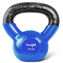 Yes4All Vinyl Coated Kettlebell Weights Set – Great for Full Body Workout and Strength Tra ...