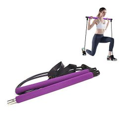 AMODAI 1111 2020/2/7 15:30:29 Portable Pilates Bar Kit with Resistance Band Yoga Exercise Pilate ...