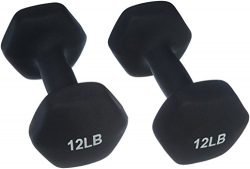AmazonBasics 12 Pound Neoprene Dumbbells Weights – Set of 2, Black