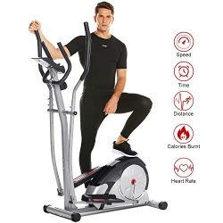 ANCHEER Elliptical Machine, Magnetic Elliptical Exercise Training Machine with LCD Monitor, Puls ...