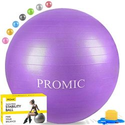 PROMIC Exercise Ball (55 cm) with Foot Pump, Professional Grade Anti Burst & Slip Resistant  ...
