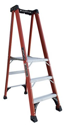 Louisville Ladder FXP1803HD Fiberglass Pro Platform Ladder, Type IAA, 375-Pound Load Capacity, 3 ...