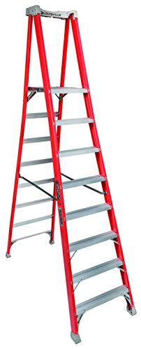 Louisville Ladder 8-Foot Fiberglass Pro Extended Rail Platform Ladder, 300-Pound Capacity, Type  ...