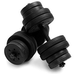 Goplus 66 LB Dumbbell Weight Set, Fitness Barbell Lifting with Adjustable Weight Plates and Hand ...
