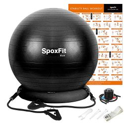 SpoxFit Exercise Ball Chair with Resistance Bands, Perfect for Office, Yoga, Balance, Fitness, S ...