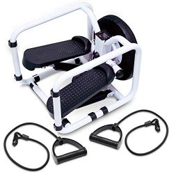 STK Mini Fitness Stepper with Resistance Bands and Twister Board – Compact Step Machine fo ...