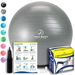 ProBody Pilates Exercise Ball – Professional Grade Anti-Burst Fitness, Balance Ball for Yo ...