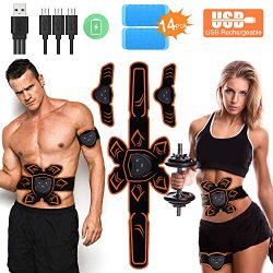 PiAEK EMS Muscle Stimulator, ABS TrainerToner Abdominal Belt Stimulator Muscle Toner Fitness Tra ...