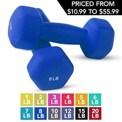 Neoprene Dumbbell Pairs by Day 1 Fitness – 8 Pounds – Non-Slip, Hexagon Shape, Color ...