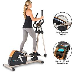Exerpeutic 2500 Bluetooth Smart Technology Exposed Flywheel Elliptical Trainer with 16 Levels of ...